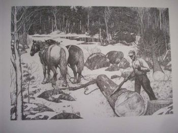 Logger and Peavy Pen & Ink Print