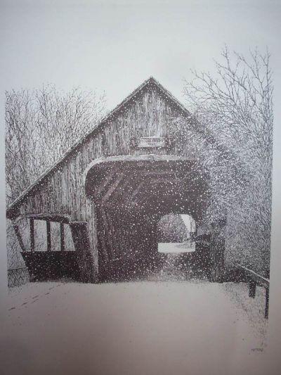 woodstock covered bridge pen  u0026 ink print