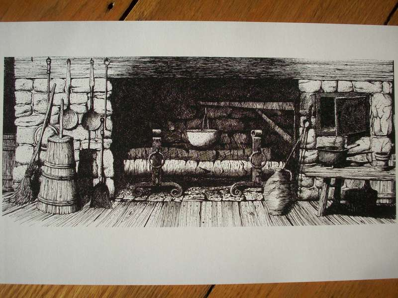 Fireplace Pen & Ink Print